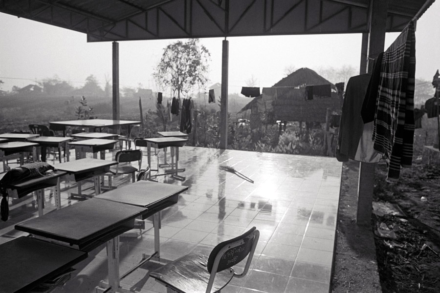 Huay Kha Lote: some migrant schools make use of fairly simple roofed-over structures for classes.